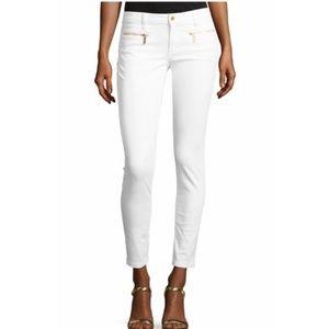 Michael Kors White Skinny Gold Zip Jeans